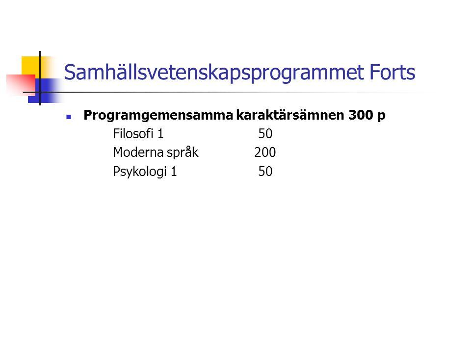 Samhällsvetenskapsprogrammet Forts  Programgemensamma karaktärsämnen300 p Filosofi 1 50 Moderna språk200 Psykologi 1 50