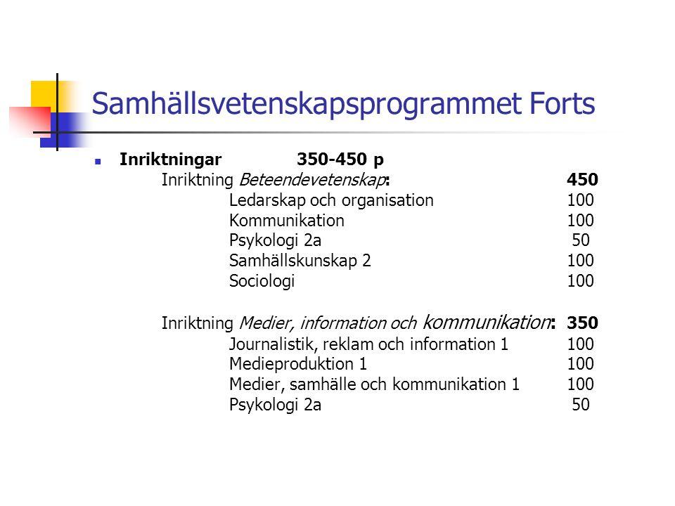 Samhällsvetenskapsprogrammet Forts  Inriktningar350-450 p Inriktning Beteendevetenskap: 450 Ledarskap och organisation100 Kommunikation100 Psykologi