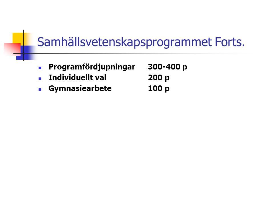 Samhällsvetenskapsprogrammet Forts.  Programfördjupningar300-400 p  Individuellt val200 p  Gymnasiearbete100 p