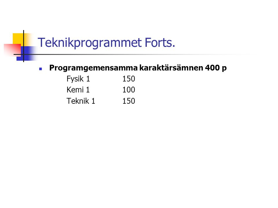 Teknikprogrammet Forts.  Programgemensamma karaktärsämnen 400 p Fysik 1150 Kemi 1100 Teknik 1 150