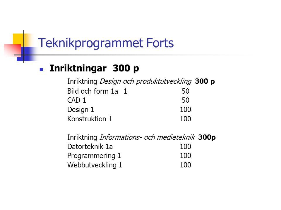 Teknikprogrammet Forts  Inriktningar 300 p Inriktning Design och produktutveckling 300 p Bild och form 1a1 50 CAD 1 50 Design 1100 Konstruktion 1100