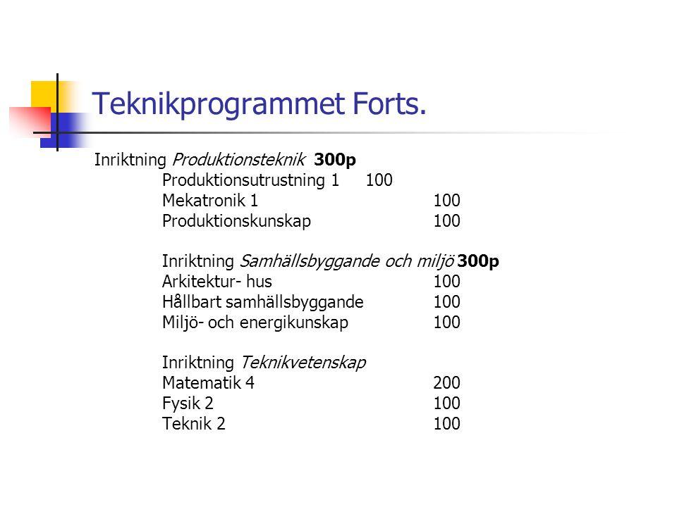 Teknikprogrammet Forts. Inriktning Produktionsteknik 300p Produktionsutrustning 1100 Mekatronik 1100 Produktionskunskap100 Inriktning Samhällsbyggande