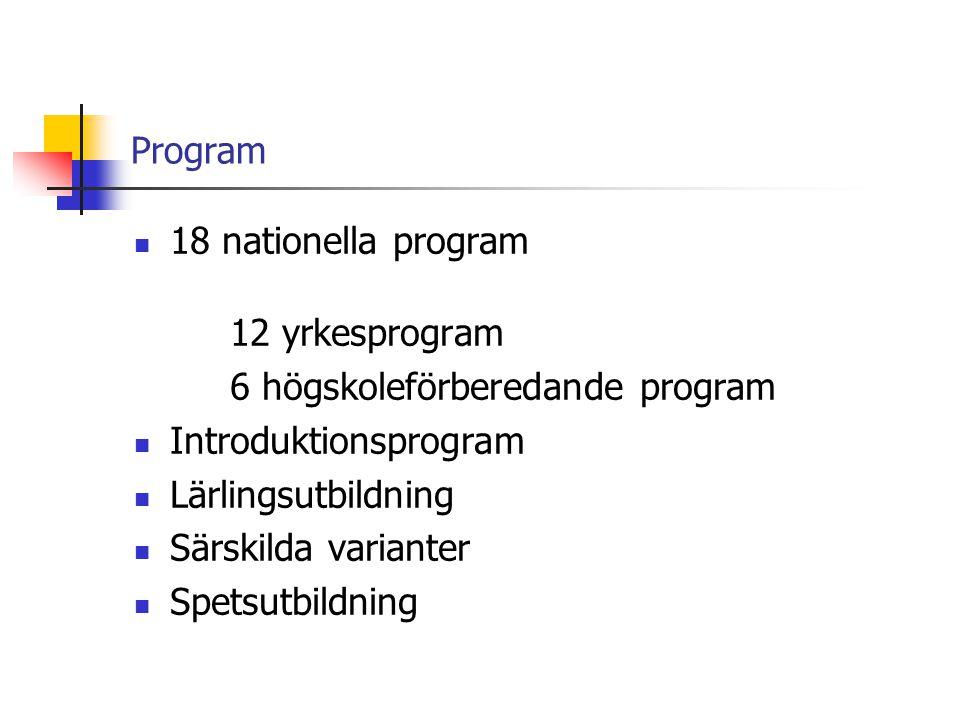 Program  18 nationella program 12 yrkesprogram 6 högskoleförberedande program  Introduktionsprogram  Lärlingsutbildning  Särskilda varianter  Spe