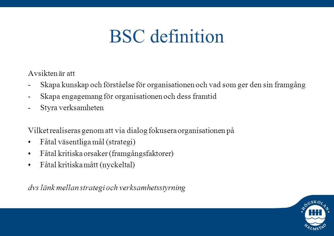 BSC definition Avsikten är att -Skapa kunskap och förståelse för organisationen och vad som ger den sin framgång -Skapa engagemang för organisationen