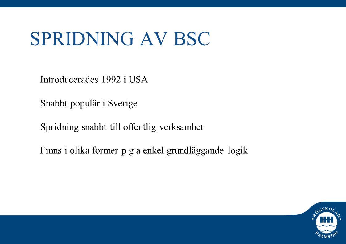 SPRIDNING AV BSC Introducerades 1992 i USA Snabbt populär i Sverige Spridning snabbt till offentlig verksamhet Finns i olika former p g a enkel grundl