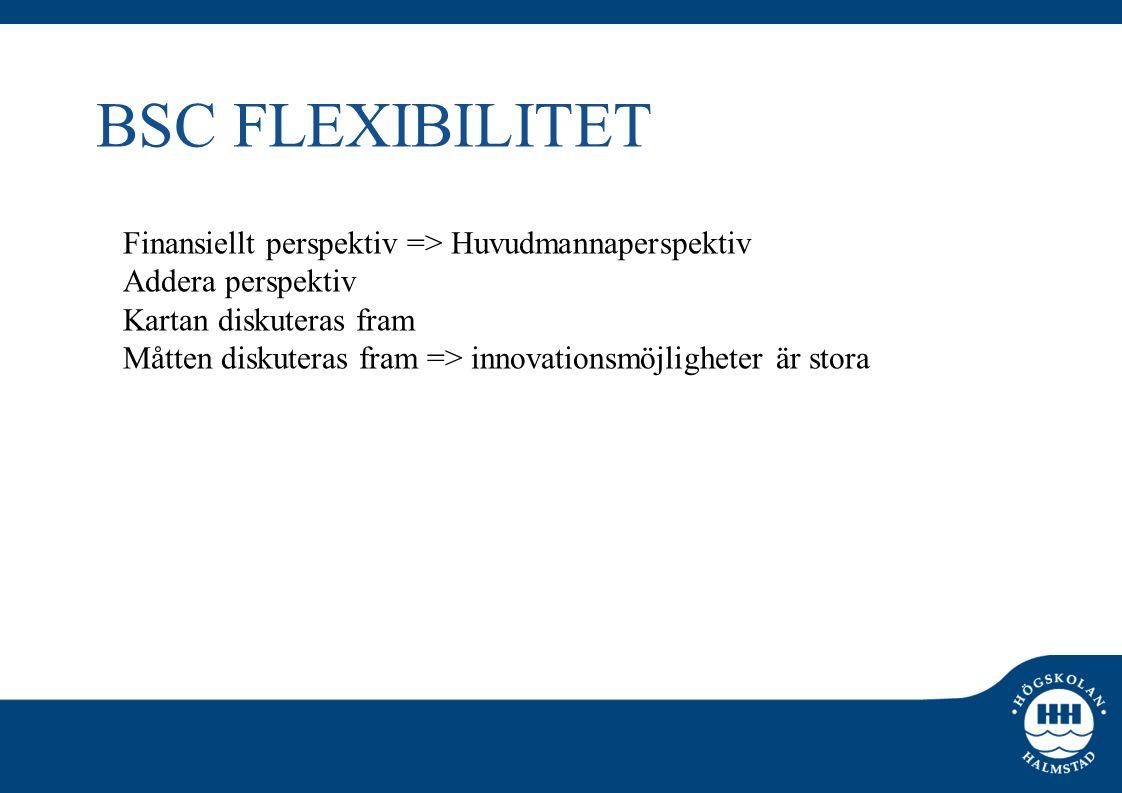 BSC FLEXIBILITET Finansiellt perspektiv => Huvudmannaperspektiv Addera perspektiv Kartan diskuteras fram Måtten diskuteras fram => innovationsmöjlighe