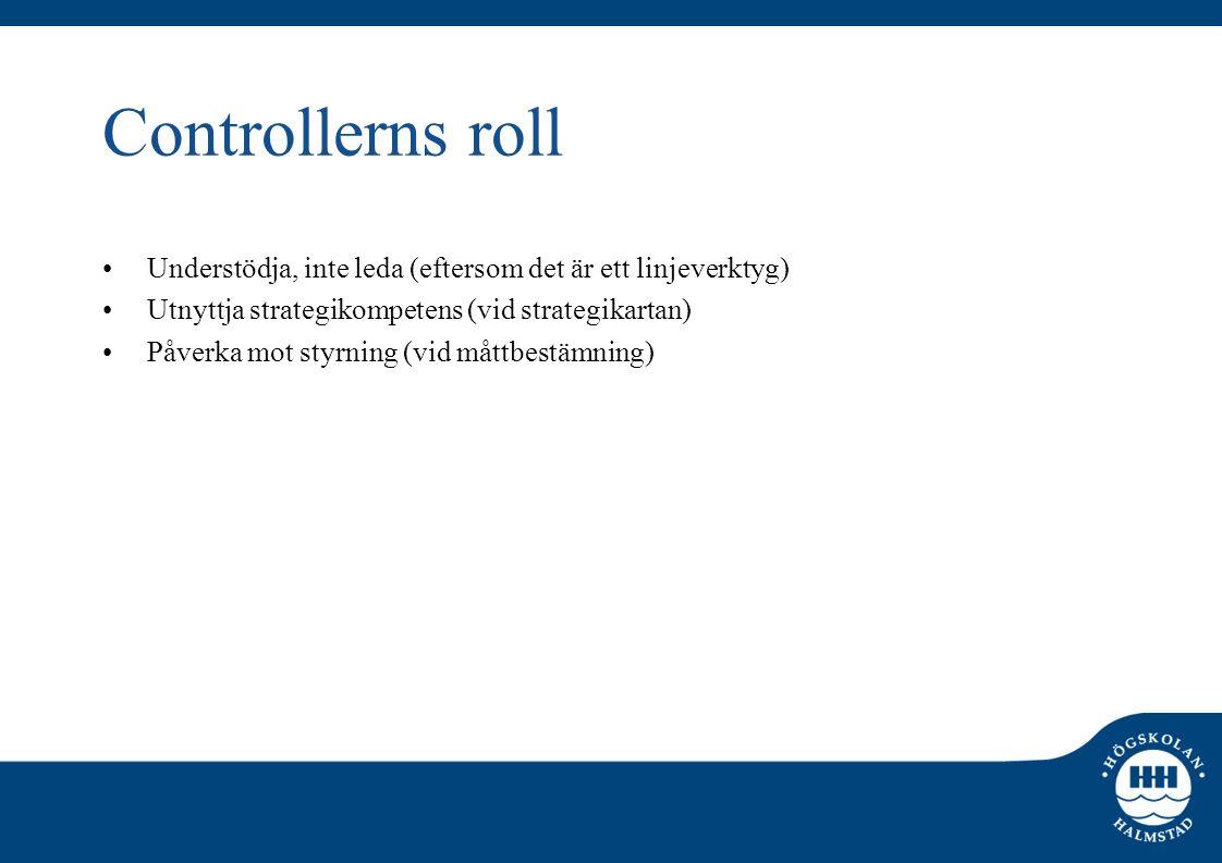 Controllerns roll •Understödja, inte leda (eftersom det är ett linjeverktyg) •Utnyttja strategikompetens (vid strategikartan) •Påverka mot styrning (v
