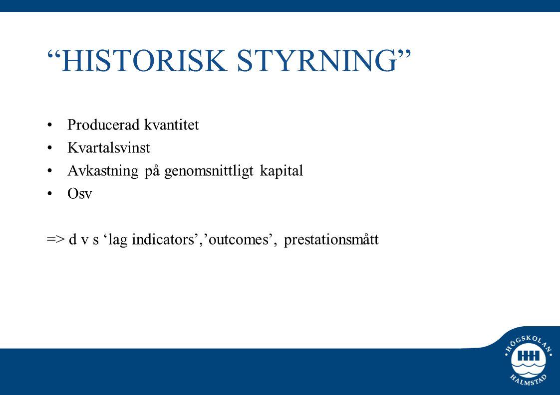 """""""HISTORISK STYRNING"""" •Producerad kvantitet •Kvartalsvinst •Avkastning på genomsnittligt kapital •Osv => d v s 'lag indicators','outcomes', prestations"""