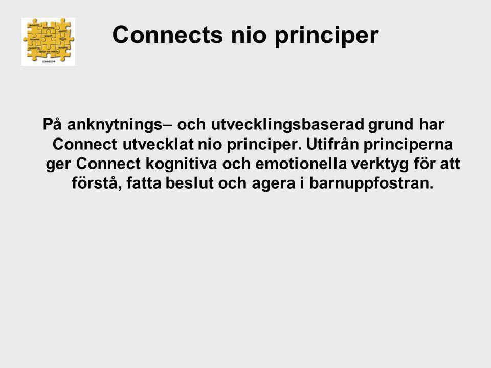 Connects nio principer På anknytnings– och utvecklingsbaserad grund har Connect utvecklat nio principer. Utifrån principerna ger Connect kognitiva och