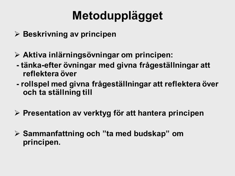 Metodupplägget  Beskrivning av principen  Aktiva inlärningsövningar om principen: - tänka-efter övningar med givna frågeställningar att reflektera ö