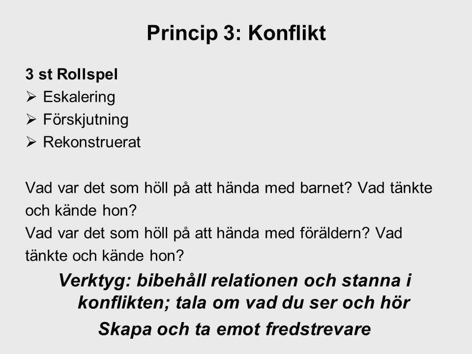 Princip 3: Konflikt 3 st Rollspel  Eskalering  Förskjutning  Rekonstruerat Vad var det som höll på att hända med barnet? Vad tänkte och kände hon?