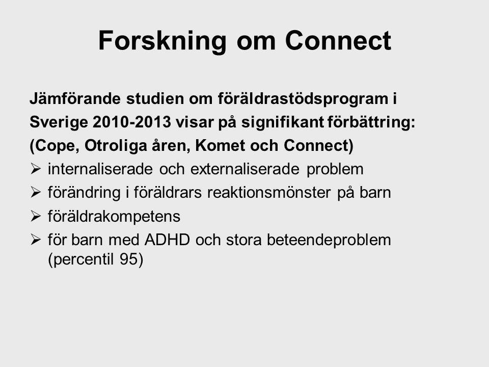 Forskning om Connect Jämförande studien om föräldrastödsprogram i Sverige 2010-2013 visar på signifikant förbättring: (Cope, Otroliga åren, Komet och