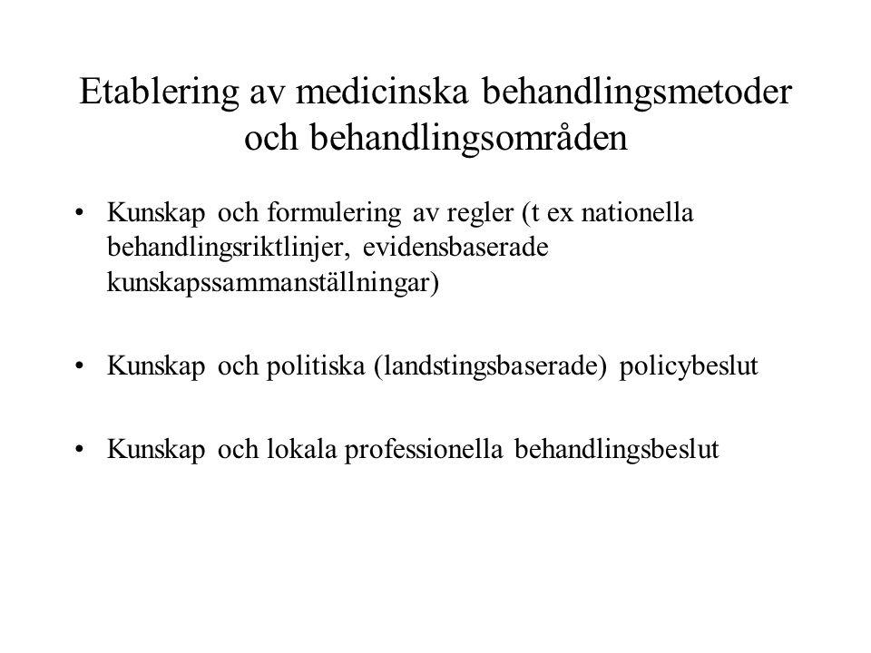 Etablering av medicinska behandlingsmetoder och behandlingsområden •Kunskap och formulering av regler (t ex nationella behandlingsriktlinjer, evidensbaserade kunskapssammanställningar) •Kunskap och politiska (landstingsbaserade) policybeslut •Kunskap och lokala professionella behandlingsbeslut