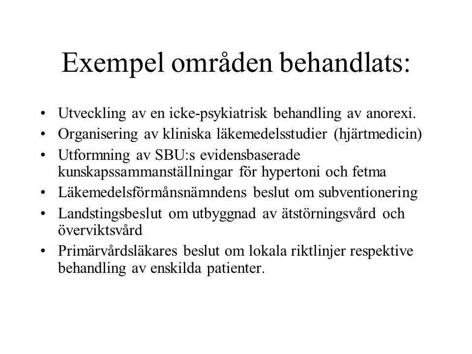 Exempel områden behandlats: •Utveckling av en icke-psykiatrisk behandling av anorexi.