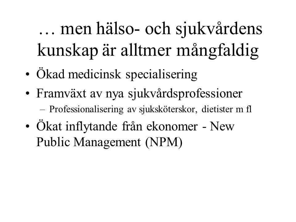 … men hälso- och sjukvårdens kunskap är alltmer mångfaldig •Ökad medicinsk specialisering •Framväxt av nya sjukvårdsprofessioner –Professionalisering av sjuksköterskor, dietister m fl •Ökat inflytande från ekonomer - New Public Management (NPM)