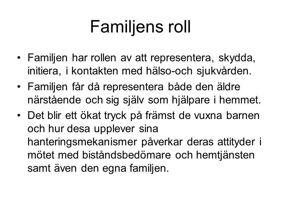 Familjens roll •Familjen har rollen av att representera, skydda, initiera, i kontakten med hälso-och sjukvården. •Familjen får då representera både de