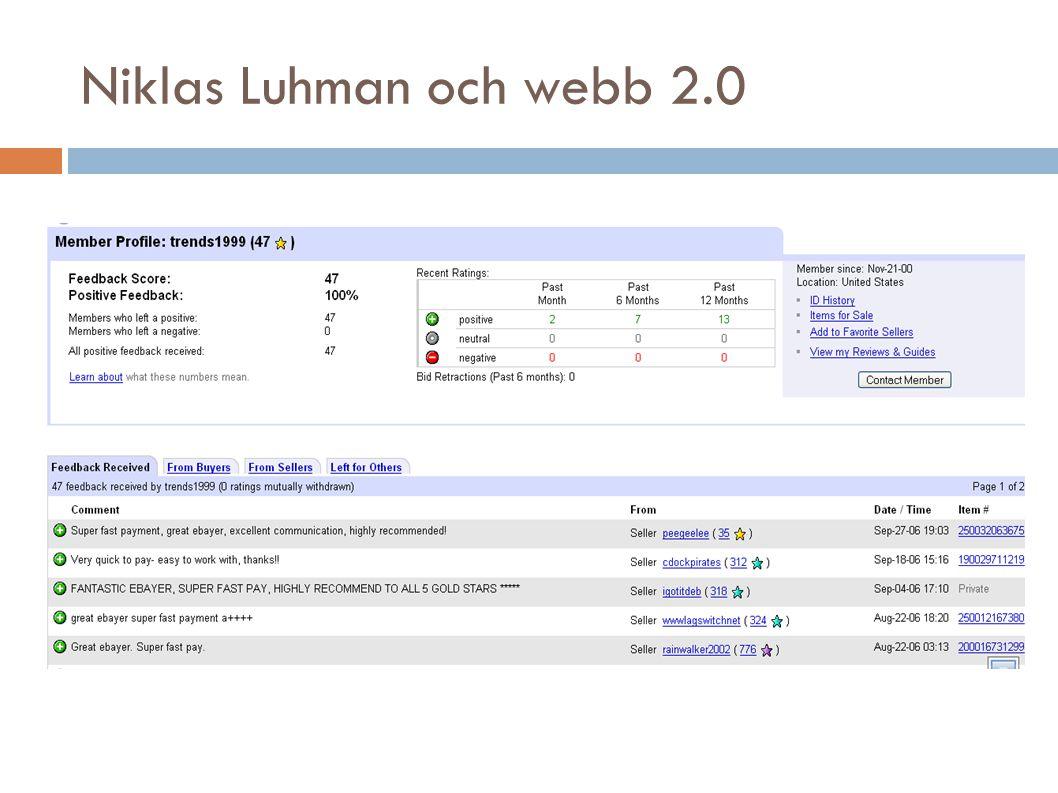 Niklas Luhman och webb 2.0