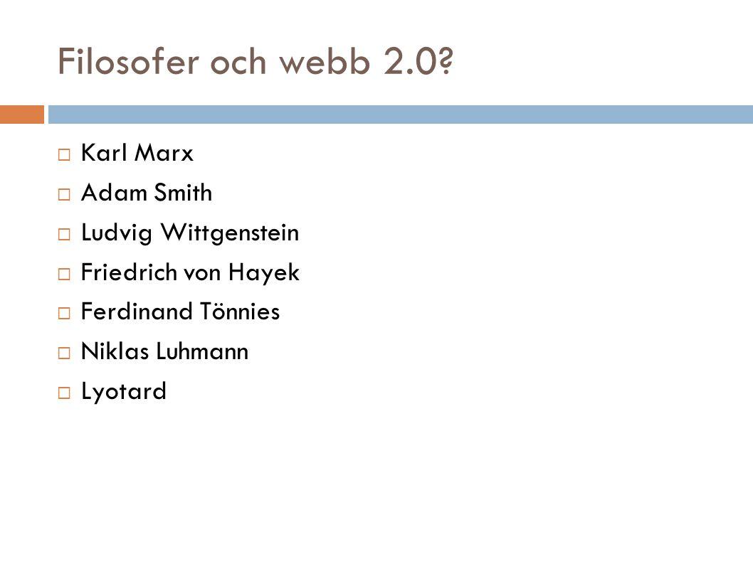 Filosofer och webb 2.0?  Karl Marx  Adam Smith  Ludvig Wittgenstein  Friedrich von Hayek  Ferdinand Tönnies  Niklas Luhmann  Lyotard