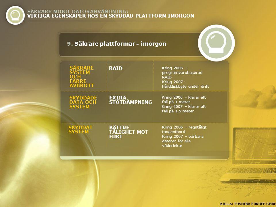 Kring 2006 – programvarubaserad RAID Kring 2007 - hårddiskbyte under drift SÄKRARE SYSTEM OCH FÄRRE AVBROTT RAID 9.