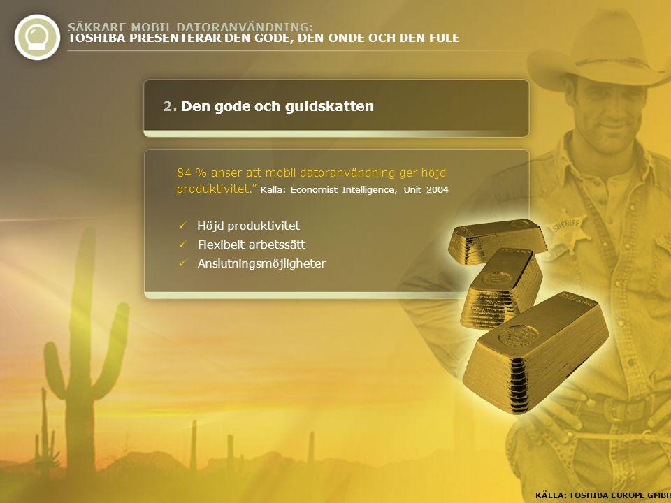 """2. Den gode och guldskatten 84 % anser att mobil datoranvändning ger höjd produktivitet."""" Källa: Economist Intelligence, Unit 2004 SÄKRARE MOBIL DATOR"""