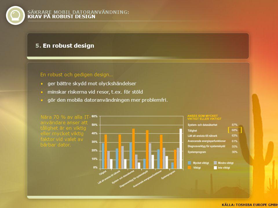 5. En robust design SÄKRARE MOBIL DATORANVÄNDNING: KRAV PÅ ROBUST DESIGN En robust och gedigen design… KÄLLA: TOSHIBA EUROPE GMBH Nära 70 % av alla IT