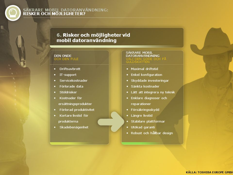 6. Risker och möjligheter vid mobil datoranvändning SÄKRARE MOBIL DATORANVÄNDNING: RISKER OCH MÖJLIGHETER? KÄLLA: TOSHIBA EUROPE GMBH • Driftsavbrott