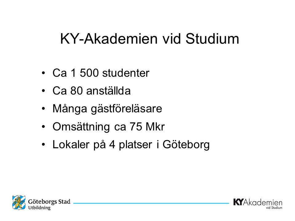 KY-Akademien vid Studium •Ca 1 500 studenter •Ca 80 anställda •Många gästföreläsare •Omsättning ca 75 Mkr •Lokaler på 4 platser i Göteborg