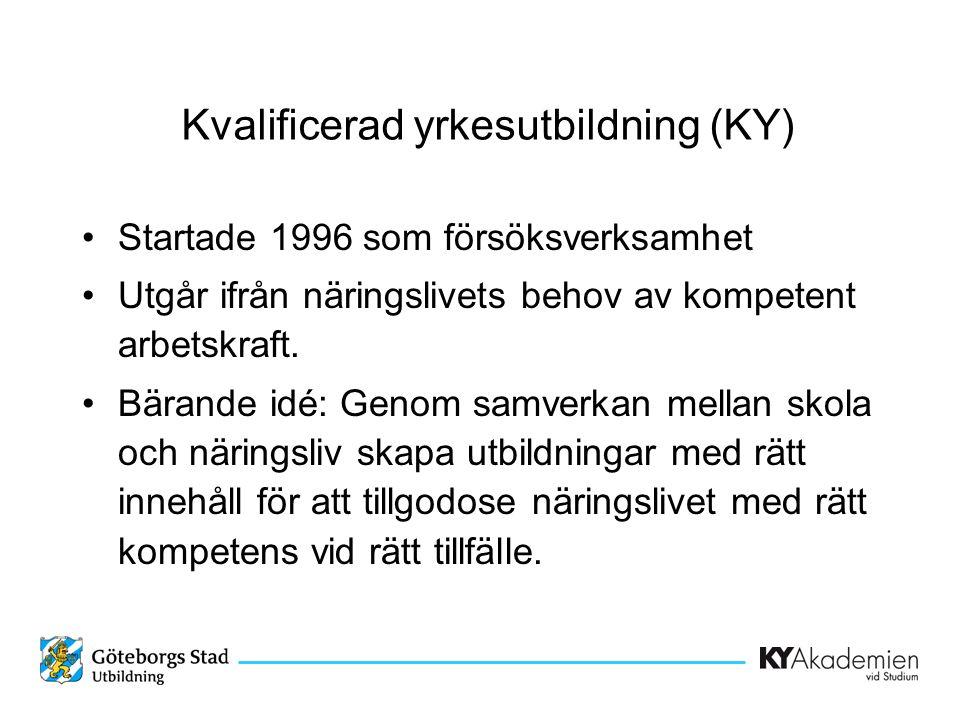 Kvalificerad yrkesutbildning (KY) •Startade 1996 som försöksverksamhet •Utgår ifrån näringslivets behov av kompetent arbetskraft. •Bärande idé: Genom