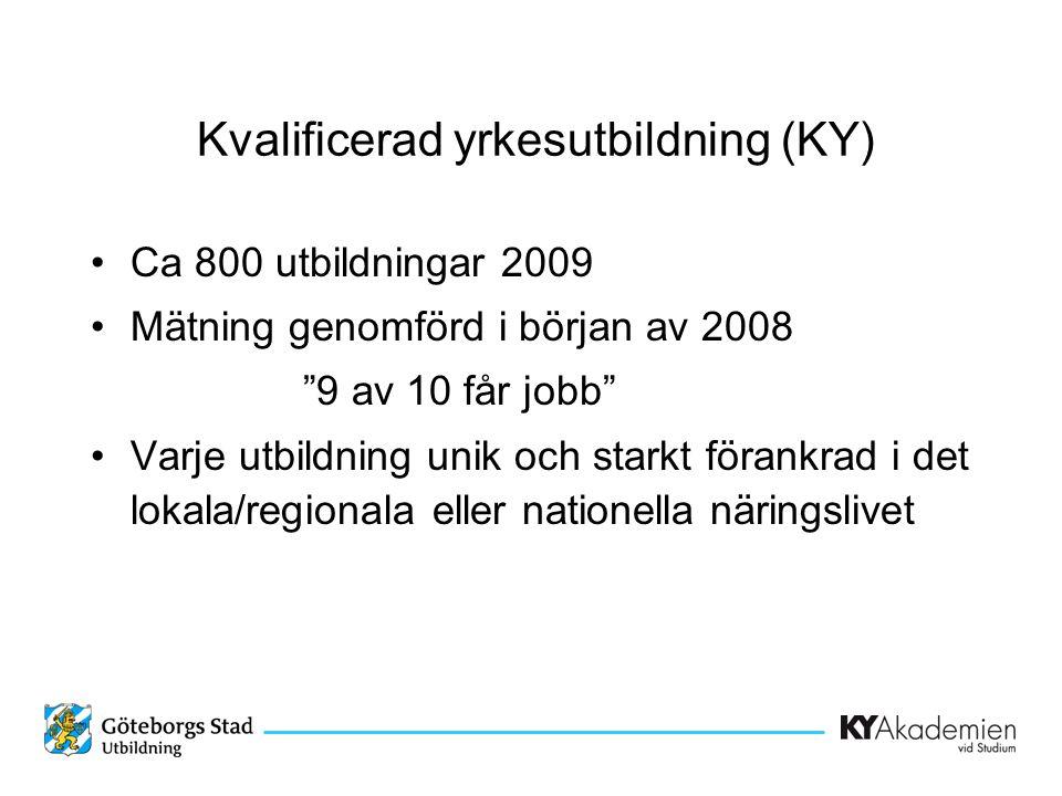 •Ca 800 utbildningar 2009 •Mätning genomförd i början av 2008 9 av 10 får jobb •Varje utbildning unik och starkt förankrad i det lokala/regionala eller nationella näringslivet Kvalificerad yrkesutbildning (KY)