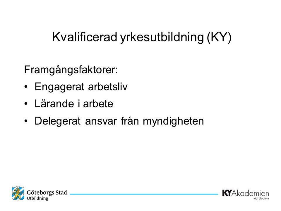 Framgångsfaktorer: •Engagerat arbetsliv •Lärande i arbete •Delegerat ansvar från myndigheten Kvalificerad yrkesutbildning (KY)