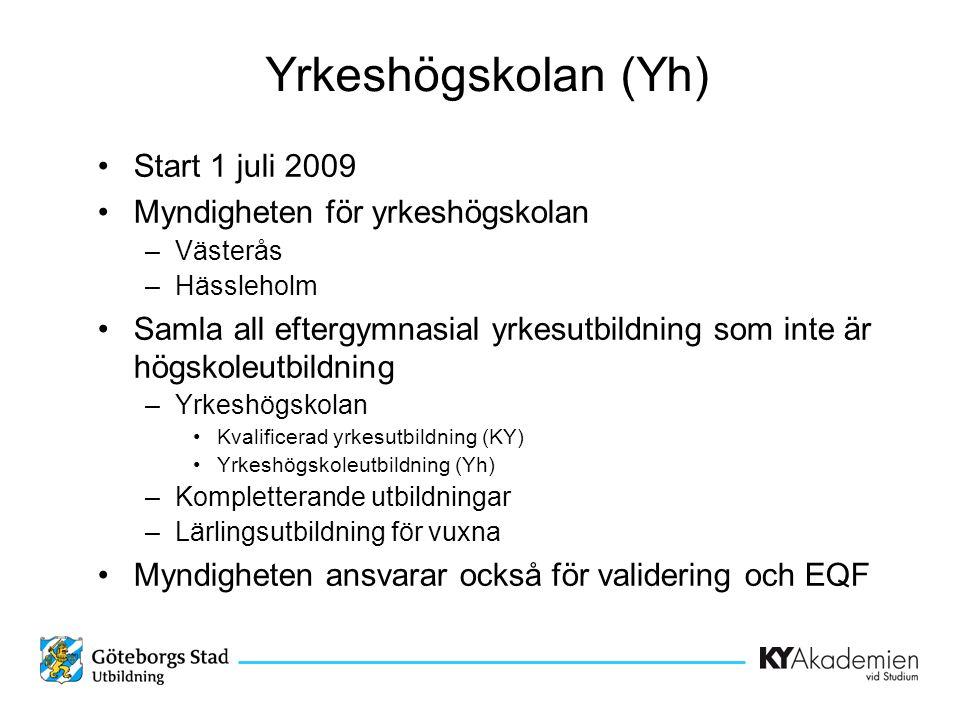 Yrkeshögskolan (Yh) •Start 1 juli 2009 •Myndigheten för yrkeshögskolan –Västerås –Hässleholm •Samla all eftergymnasial yrkesutbildning som inte är högskoleutbildning –Yrkeshögskolan •Kvalificerad yrkesutbildning (KY) •Yrkeshögskoleutbildning (Yh) –Kompletterande utbildningar –Lärlingsutbildning för vuxna •Myndigheten ansvarar också för validering och EQF