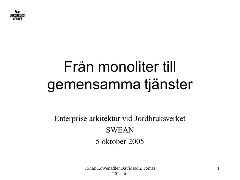 Johan Löwenadler Davidsson, Tomas Nilsson 1 Från monoliter till gemensamma tjänster Enterprise arkitektur vid Jordbruksverket SWEAN 5 oktober 2005
