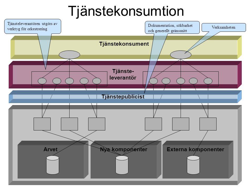Tjänste- leverantör Tjänstekonsument ArvetNya komponenterExterna komponenter Tjänstekonsumtion Tjänstepublicist Verksamheten Tjänsteleverantören utgör
