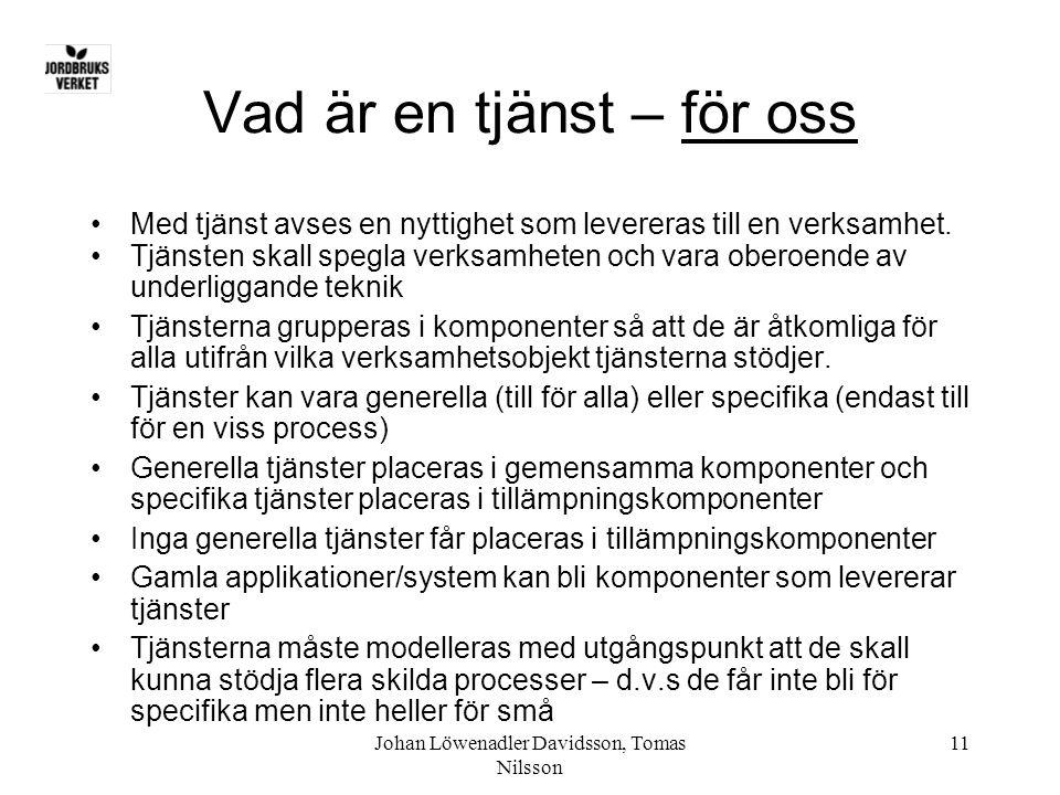 Johan Löwenadler Davidsson, Tomas Nilsson 11 Vad är en tjänst – för oss •Med tjänst avses en nyttighet som levereras till en verksamhet. •Tjänsten ska