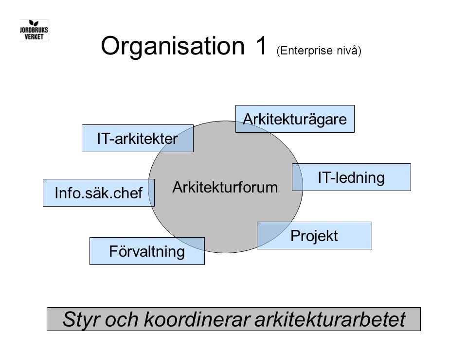 Organisation 1 (Enterprise nivå) Styr och koordinerar arkitekturarbetet Arkitekturforum Arkitekturägare IT-arkitekter IT-ledning Projekt Förvaltning I