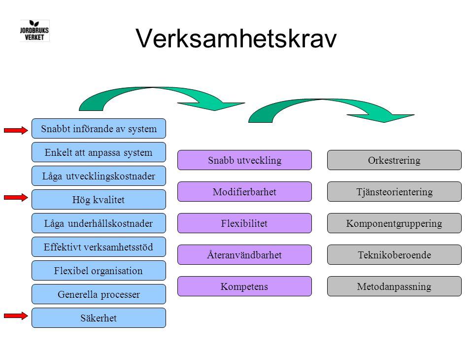 Verksamhetskrav Orkestrering Tjänsteorientering Komponentgruppering Teknikoberoende Metodanpassning Snabb utveckling Modifierbarhet Flexibilitet Återa