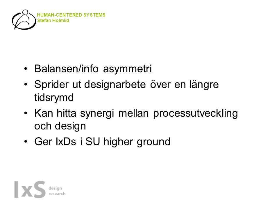 HUMAN-CENTERED SYSTEMS Stefan Holmlid •Balansen/info asymmetri •Sprider ut designarbete över en längre tidsrymd •Kan hitta synergi mellan processutveckling och design •Ger IxDs i SU higher ground