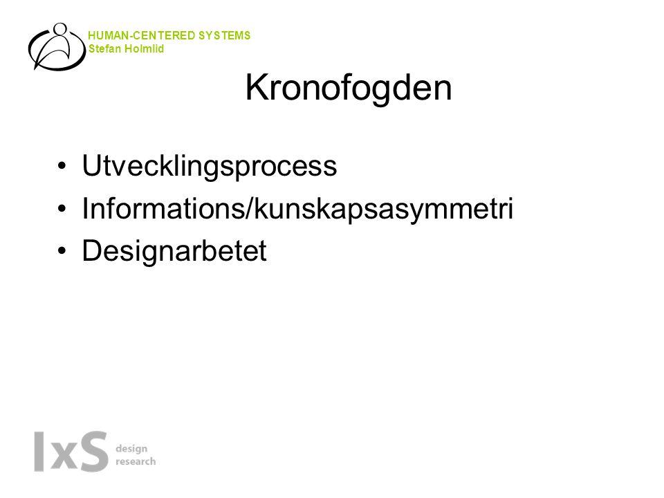 HUMAN-CENTERED SYSTEMS Stefan Holmlid Kronofogden •Utvecklingsprocess •Informations/kunskapsasymmetri •Designarbetet