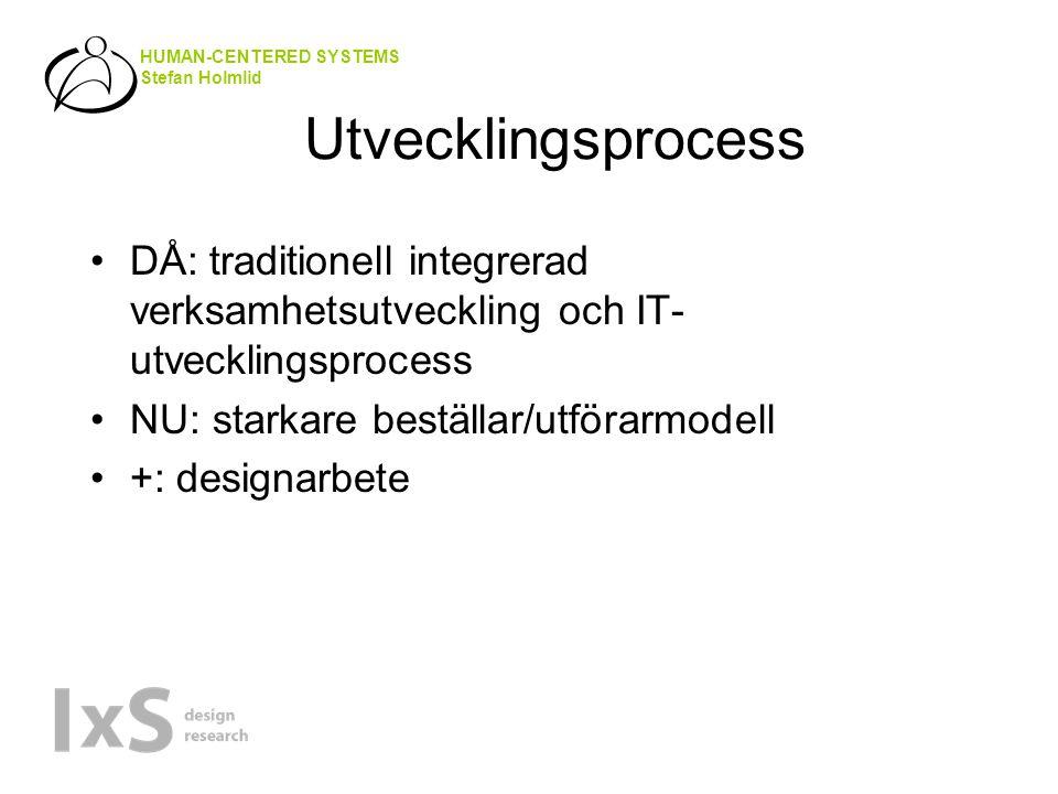 HUMAN-CENTERED SYSTEMS Stefan Holmlid Utvecklingsprocess •DÅ: traditionell integrerad verksamhetsutveckling och IT- utvecklingsprocess •NU: starkare beställar/utförarmodell •+: designarbete