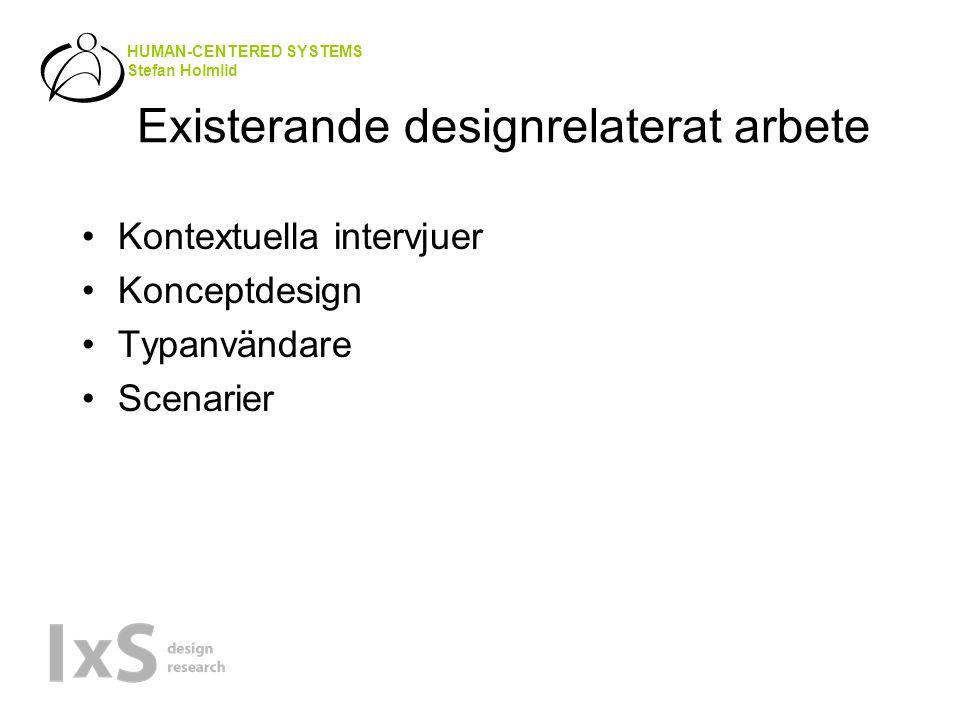 HUMAN-CENTERED SYSTEMS Stefan Holmlid Existerande designrelaterat arbete •Kontextuella intervjuer •Konceptdesign •Typanvändare •Scenarier