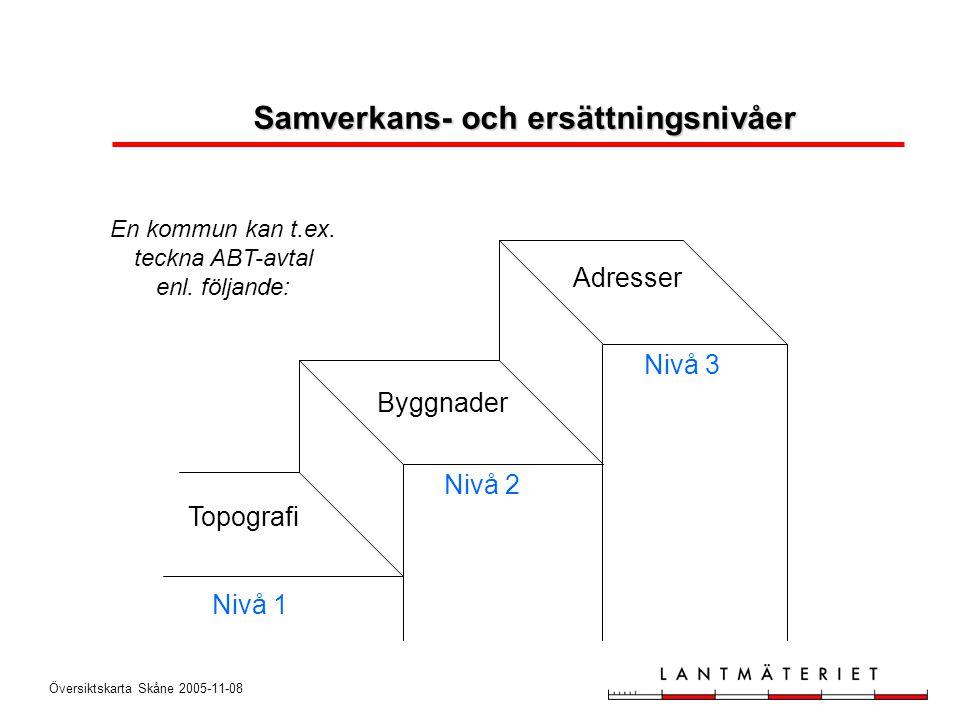 Översiktskarta Skåne 2005-11-08 Nivå 1 Nivå 2 Nivå 3 Adresser Byggnader Topografi En kommun kan t.ex. teckna ABT-avtal enl. följande: Samverkans- och