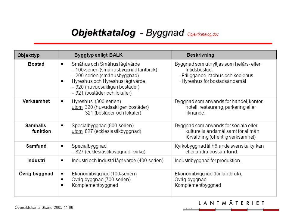 Översiktskarta Skåne 2005-11-08 Objekttyp Byggtyp enligt BALK Beskrivning Bostad  Småhus och Småhus lågt värde – 100-serien (småhusbyggnad lantbruk)