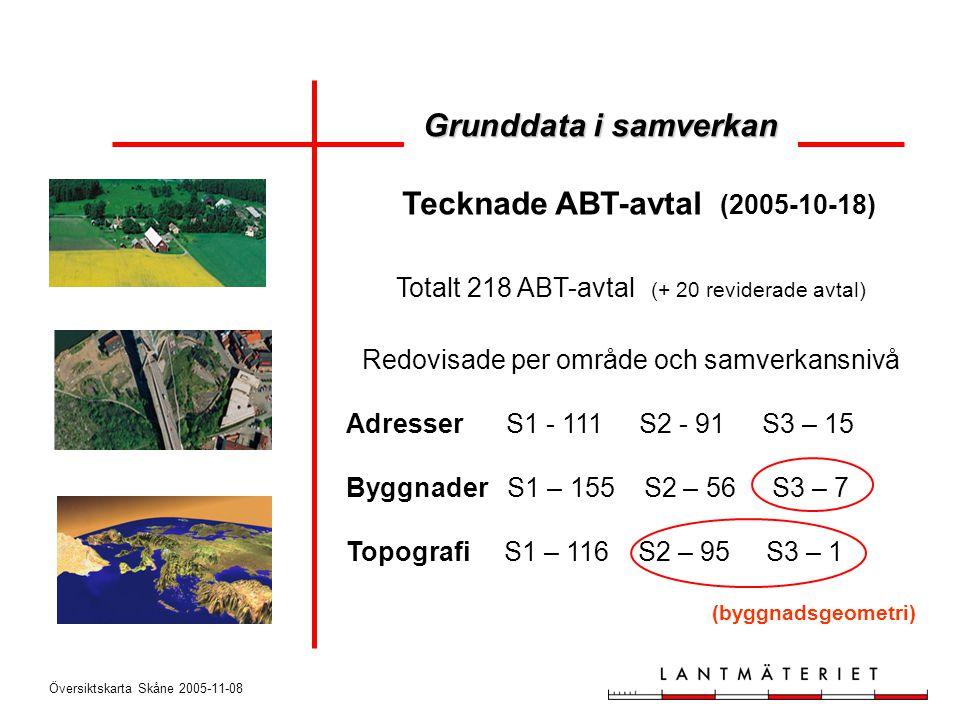 Översiktskarta Skåne 2005-11-08 Totalt 218 ABT-avtal (+ 20 reviderade avtal) Redovisade per område och samverkansnivå Adresser S1 - 111 S2 - 91 S3 – 1
