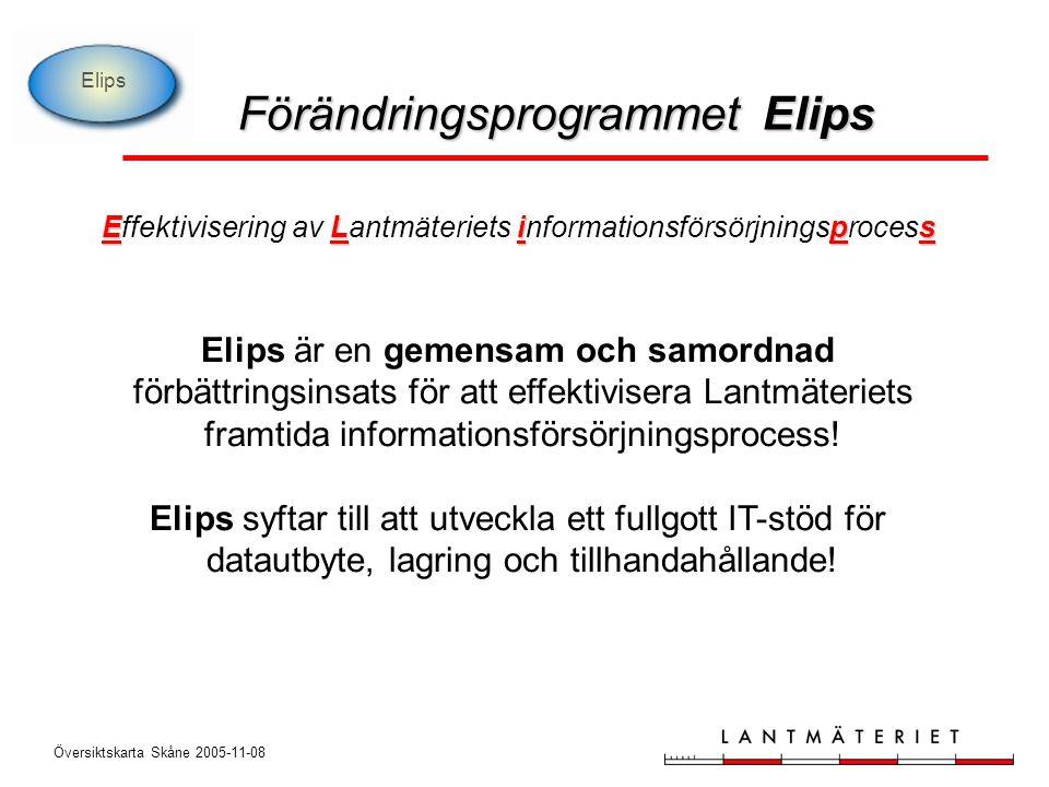 Elips ELips Effektivisering av Lantmäteriets informationsförsörjningsprocess Elips är en gemensam och samordnad förbättringsinsats för att effektivisera Lantmäteriets framtida informationsförsörjningsprocess.