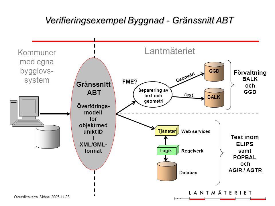 Översiktskarta Skåne 2005-11-08 Test inom ELIPS samt POPBAL och AGIR / AGTR Logik Tjänster Web services Regelverk Databas Kommuner med egna bygglovs-