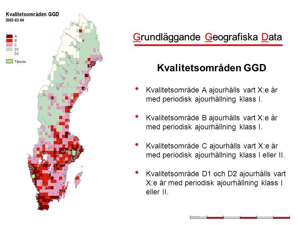 Översiktskarta Skåne 2005-11-08 Kvalitetsområden GGD • Kvalitetsområde A ajourhålls vart X:e år med periodisk ajourhållning klass I.