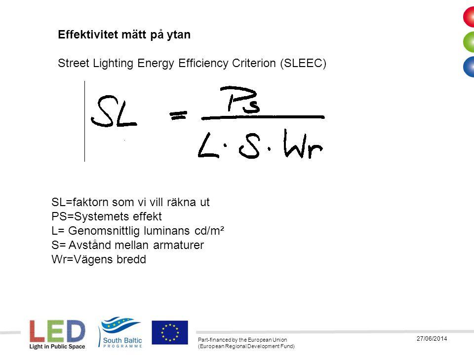 Part-financed by the European Union (European Regional Development Fund) 27/06/2014 SL=faktorn som vi vill räkna ut PS=Systemets effekt L= Genomsnittl