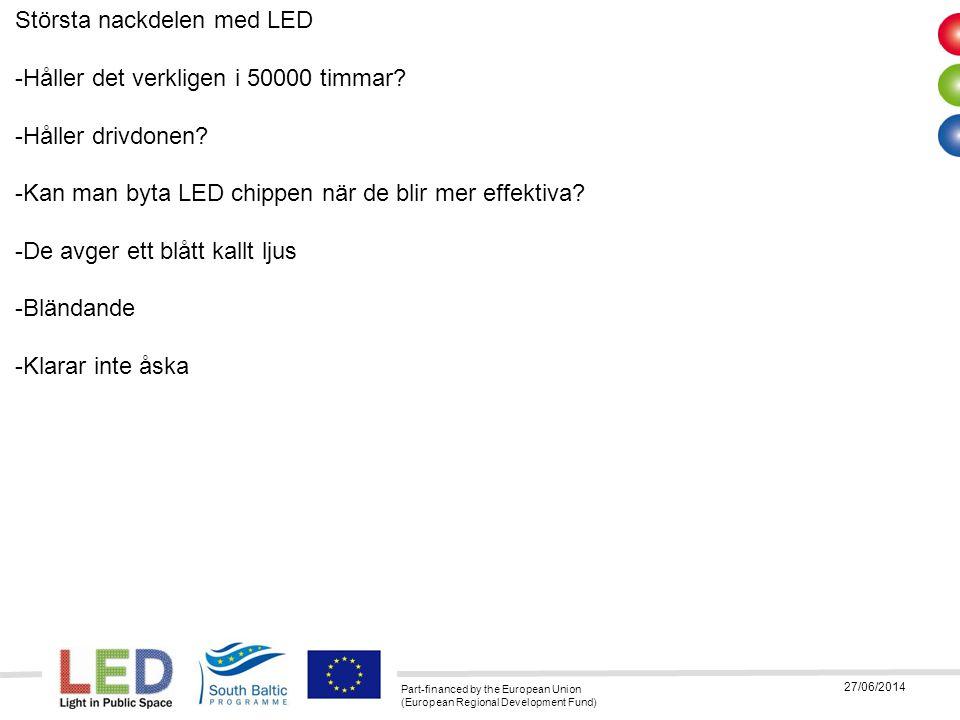Part-financed by the European Union (European Regional Development Fund) 27/06/2014 Största nackdelen med LED -Håller det verkligen i 50000 timmar? -H