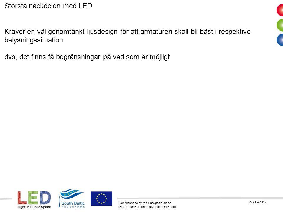 Part-financed by the European Union (European Regional Development Fund) 27/06/2014 Största nackdelen med LED Kräver en väl genomtänkt ljusdesign för