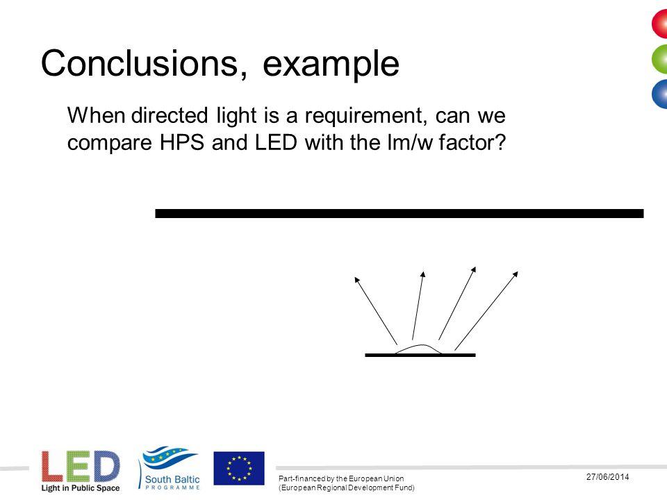 Part-financed by the European Union (European Regional Development Fund) 27/06/2014 Några fördelar med LED tekniken Kräver ingen startström för att tändas, innebär att man kan minska säkringsstorleken på ett belysningsområde Ljuset är riktat från början, mindre förluster jämfört med en konventionell lampa LED tekniken är inte konventionell belysningsteknik som innan, det är elektronik.